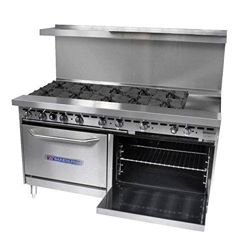 Natural Gas Bakers Pride Restaurant Series 72-BP-10B-G12-S30 10 Burner Gas Range with Two Standard 3