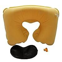 Aubigjp U型枕 空気枕 旅行 携帯用 昼休み用 エアまくら(U型まくら&耳栓&アイマスク)3点セット - Yellow