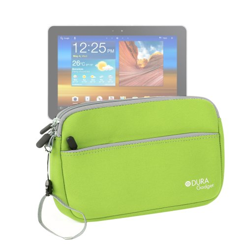 DURAGADGET Lime Green Water Resistant Neoprene Carry Case For Samsung Galaxy Tab 10.1 P7500 P7510 ( 3G & WiFi, 16GB, Black) - UK Version, Galaxy Tab 10.1N P7501 WiFi+3G & Galaxy Tab 10.1v P7100