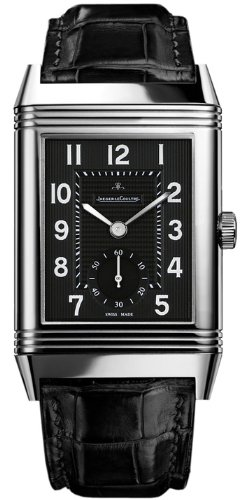 Jaeger LeCoultre Grande Reverso 976 Black Dial Leather Mens Watch Q3738470