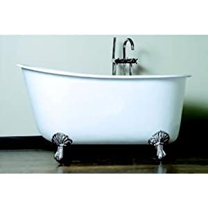 58 deep soaking tub swedish design with polished chrome feet
