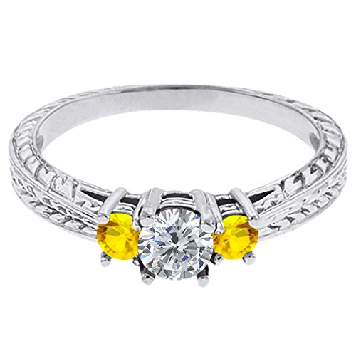 0.56 Ct Round G/H Diamond Yellow Sapphire 18K White Gold 3-Stone Ring