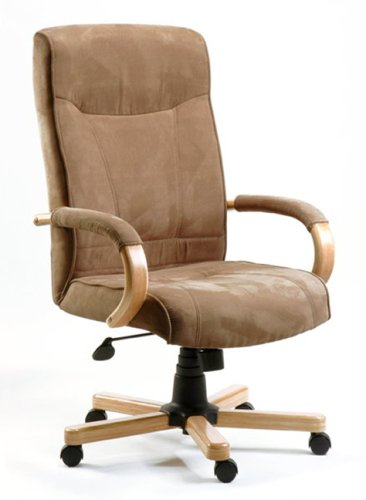 GUILDFORD Suede-Effect Brown Office Chair with Oak Arms and Base