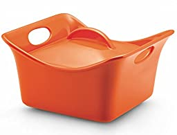 Rachael Ray Stoneware 3.5-Quart Covered Square Cassersquare Casserole, Orange