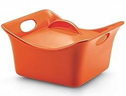 Rachael Ray Stoneware 3.5-Quart Covered Square Cassersquare Casserole, Orange