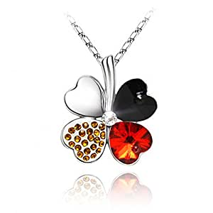 KATGI Fashion Austrian Crystal Lucky Four Leaf Clover Pendant Necklace (BLACK AND RED)