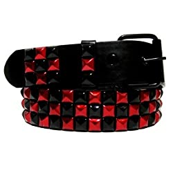 Dabung Themed Alternative Punk Goth Metal Emo Skater Pyramid Studded Belts -Black - Red/L