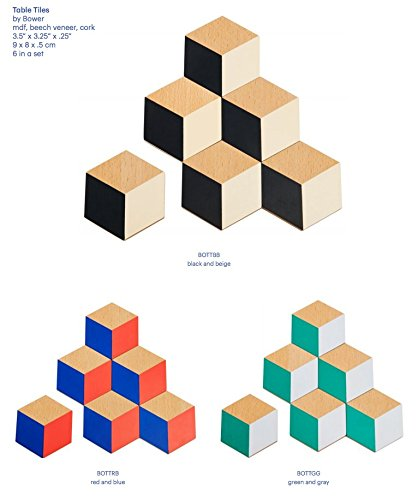 Areaware - Table Tiles / Untersetzer Set of 6 / Farbe: Schwarz & Beige