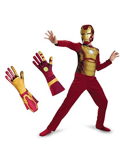 Iron Man Avengers Boys medium Halloween Costume Mask Gloves Reactor