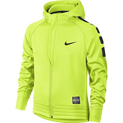 Boy's Nike Elite Stripe Full-Zip Basketball Hoodie Volt/Black Size Medium