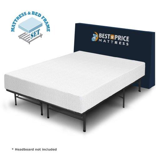 Best Price Mattress 10 Inch Memory Foam Mattress And Bed Frame Set Queen New Ebay