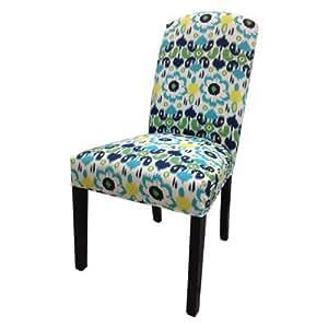 Flora Cotton Parson Chair (Set of 2) Color: Blue