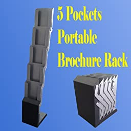 5 Pocket Full Metal Literature Magazine Catalog Brochure Rack Holder Trade Show Display Portable Pop up Trade Show