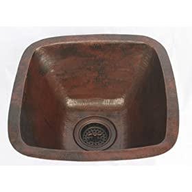 "15"" Mexican Hand Hammered Square Copper Bar Prep Sink"