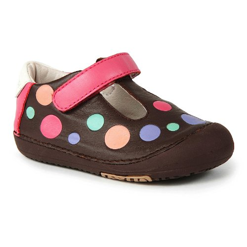 Momo Baby First Walker/Toddler Polka Dots Brown T-Strap Leather Shoes - 5 M U...