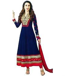 Maruti Creation Women's Georgette Semi-stitched Anarkali Suit Dress Material (MC1020_FREE_SIZE_Blue)