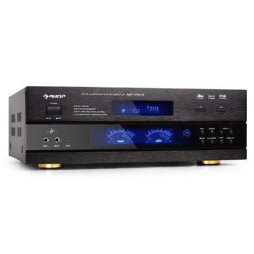 Auna AMP-5100 Amplificatore audio 5.1 surround finale di potenza ricevitore Hi-Fi (1200 Watt, display, 2 x RCA, jack collegamento per lettori cd ed MP3, telecomando) Nero