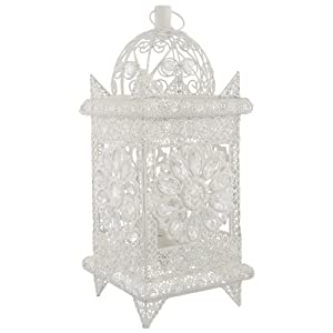 Shabby Chic Vintage White Moroccan Lantern Table Desk Lamp Vintage Style Perfect For All