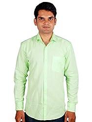 Maclavaro Mens Casual Solid Shirt_9PLNCOTGRN_Green_S