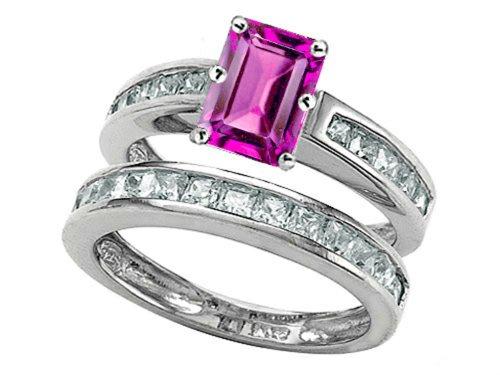 Star K Emerald Cut Created Pink Sapphire Wedding Set