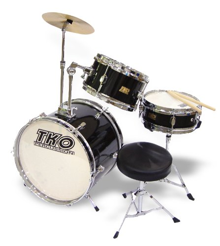 TKO 3-Piece Junior Children's/kids Drum Set with Seat - Black
