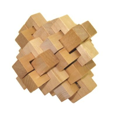 3 Inch Wooden Pineapple Design Brain Teaser 3D Puzzle, Light Beige