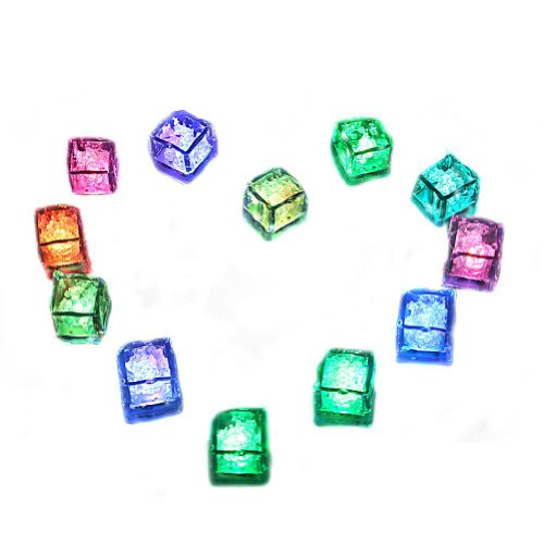 Yygift(Tm) Water Submersible Autobcenter Multi-Color Flashing Led Ice Cubes For Decoration Party Supplies / Rocks - 12 Packs Cube