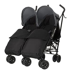 Obaby Apollo Black/Grey Twin Stroller and Black Footmuffs (Grey)