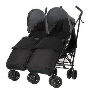 Obaby Apollo Black/Grey Twin Stroller and Black Footmuffs (Grey)