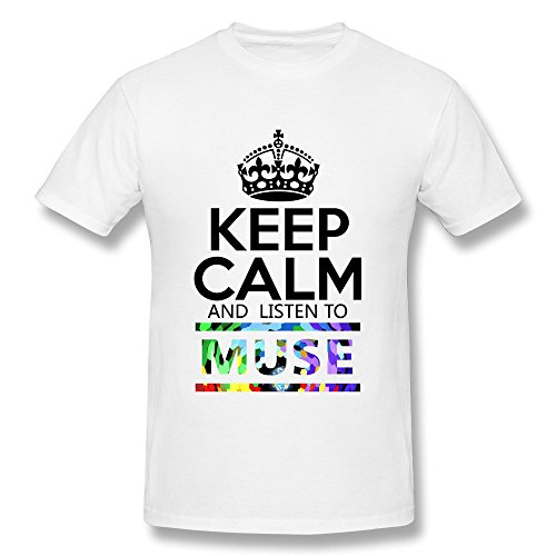 JeFF Men's Keep Calm And Listen To Muse O-neck Tee White (US Size)