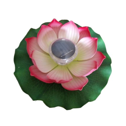 Enjoydeal Pink Solar Powered LED Multi-color Pond Garden Pool Floating Lotus Flower Night Light Lamp