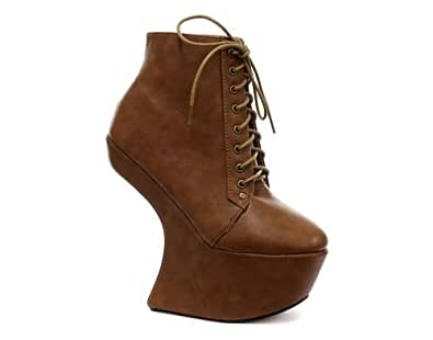 odeon heel less lace up womens wedge ankle