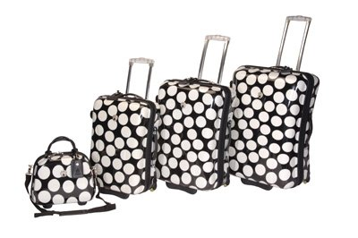 International Traveller 19969-4-BLK-VANITY DOTS Shiny Print Polycarb 4 piece Luggage Set &#8211; Black with White Dots