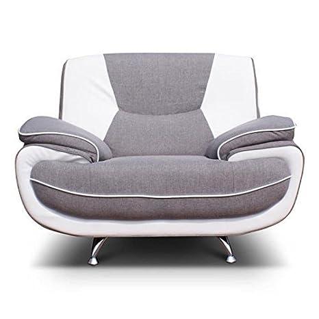SPACIO fauteuil bimatiere gris et blanc