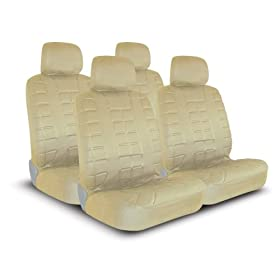 UNIVERSAL CAR SEAT COVER FOR MIDSIZE AND COMPACT CARS FULL SET - LEATHER LOOK - BEIGE
