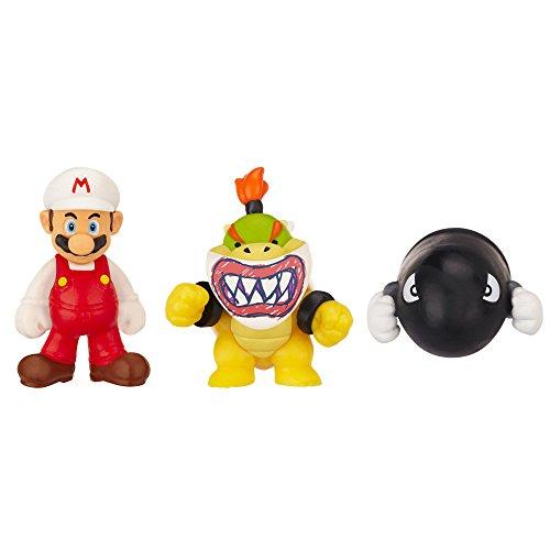 Nintendo Jakknin016Fmbjbb - World Of Micro Land 3 Figure Pack, Fire Mario, Bowser Jr e Bullet Bill