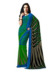 Blue Green Color Georgette Printed Saree With Blouse 7034