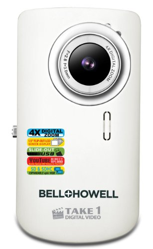 Bell+Howell Take 1 Digital Video Camcorder with  1.5-Inch Flip Out LCD Screen and Flip US (White)