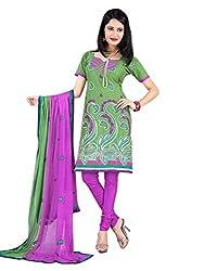 Vatsal Silk Mills Unstitched Dress Material for Women Olive Green