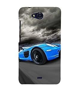Blue Racing Car 3D Hard Polycarbonate Designer Back Case Cover for Micromax Bolt Q335