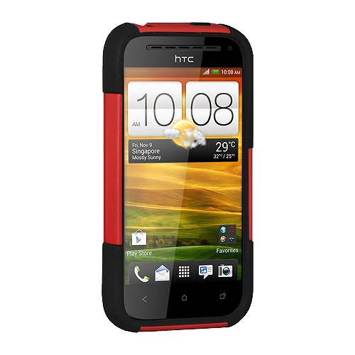 Amzer Amz95440 Dual Layer Hybrid Case With Kickstand For Htc One Sv/Cricket Htc One Sv - 1 Pack - Retail Packaging - Red/Black