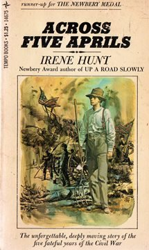 across five aprils by irene Across five aprils irene hunt 1964/2002 read by terry bregy 4 tapes, 6 hrs audio bookshelf 1-883332-48 $3495 vinyl binder content notes.