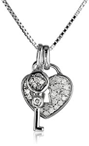 "Sterling Silver 1/4cttw Diamond Key Pendant Necklace, 18"" by The Aaron Group - HK DI"