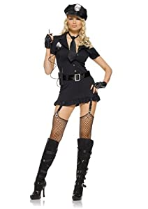 Leg Avenue Women's 6 Piece Dirty Cop Include Dress With Tie And Walkie-Talkie, Black, Medium/Large