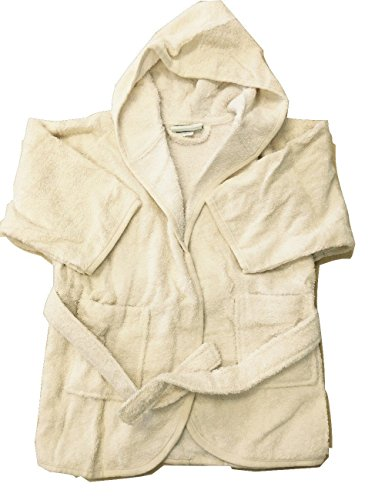 American Terry Organic Toddler Hooded Cover-Up - Natural/White - X-Small 1-2 Years