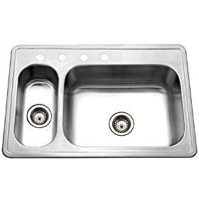 Houzer LHD-3322-1 Legend 33-by-22-Inch 80/20 Drop-in Double Bowl Stainless Steel Sink