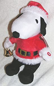 """Peanuts 10"""" Plush Christmas Musical Santa Snoopy Doll with Bell"""