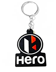 Keychain Hero Red Black Rubber Synthetic Metal Keyring
