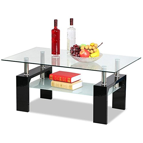 go2buy Rectangular Glass Coffee Table Shelf Black Wood Chorme Base Living Room Furniture (Round Coffee Tables Black compare prices)