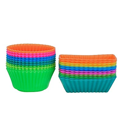 Outus Silicone Cupcake Cups Muffin Liner Baking Molds, Round and Rectangular, 24 Pieces